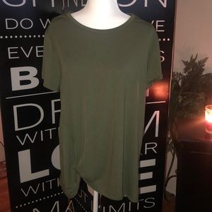 Olive green top with knot . Super comfy